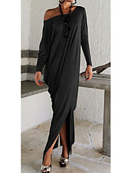 MAKE  Women's Solid Color Blue / Black / Brown / Gray Dresses , Sexy / Casual / Party Off-the-shoulder Long Sleeve