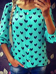 Women's Print Blue / Red / Green T-shirt , Round Neck Long Sleeve