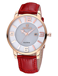 Skone® Women's Auto Date Eco-Drive Quartz Movement Genuine Leather Strap Watches Cool Watches Unique Watches
