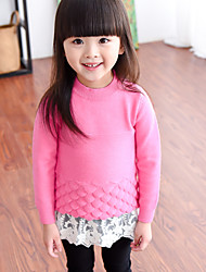 Girl's Round Collar Lace Stitching Long Sleeve Sweater & Cardigan