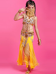 Belly Dance Outfits Children's Performance Chiffon Beading 4 Pieces Fuchsia / Green / Orange / Red / Yellow / Lake Blue