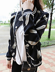 Women's Feather Print All Match Jackets , Casual / Print Round Neck Long Sleeve