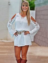 Women's Casual/Daily Sexy Loose Dress,Solid V Neck Above Knee Long Sleeve White Summer