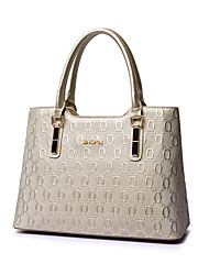 Women PU / Patent Leather Barrel Shoulder Bag / Tote - White / Blue / Gold / Black