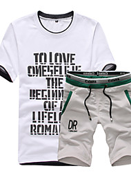 Sets Activewear Pour des hommes Manches Courtes Sport Lettre Coton