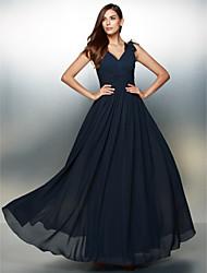 Formal Evening Dress - Dark Navy A-line V-neck Floor-length Chiffon