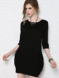 Women's Party Sexy Plus Size Dress,Solid Round Neck Above Knee Long Sleeve Black / Green Fall