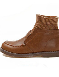 Women's Shoes Suede Winter Comfort Outdoor Flat Heel Black / Brown