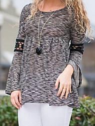 Ronde hals - Polyester - Kant / Geplooid - Vrouwen - T-shirt - Lange mouw