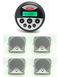 Waterproof Marine Radio Stereo ATV UTV Audio Receiver+2 Pairs 3.5 Inch Outdoor Heavy Duty Waterproof Marine Box Speakers