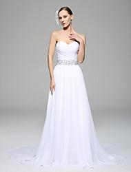 A-line Wedding Dress Chapel Train Sweetheart Chiffon with Criss-Cross / Beading / Button