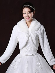 Fur Coats / Fur Wraps / Wedding  Wraps Coats/Jackets Long Sleeve Faux Fur White Wedding / Party/Evening V-neck Lace-up