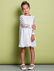 A-Line Knee Length Flower Girl Dress - Lace Long Sleeves Scoop Neck with Lace by LAN TING BRIDE®