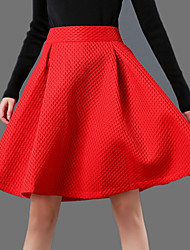 Autumn Winter Elastic waist Thickening Plaid space layer fabrics Party OL Knee Length Skirts