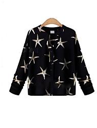 T-Shirt Da donna Floreale A V Manica lunga Chiffon