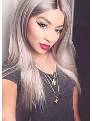 Glueless Ombre Tone Color Black And Grey Human Hair Lace Wigs