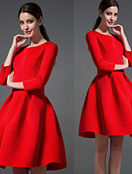 D A Y Women's Solid Color Red / Black Dresses , Casual Round Long Sleeve