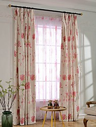 Two Panel Country Blossom Printed Cotton Energy Saving Curtains Drapes