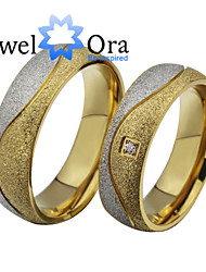 New Noble Fashion CZ Stone Titanium Steel CZ Stone Wedding Gold Ring Couples For Women&Man