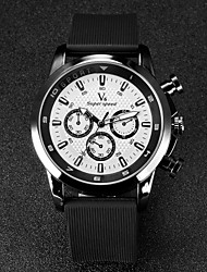 Hombre Reloj de Pulsera Cuarzo Japonés Caucho Banda Negro Marca- V6