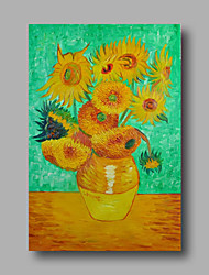 Hand-Painted Abstract Oil Painting Canvas Van Gogh repro Sunflowers Green Home Deco one Panel