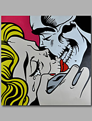 Hand-Painted Oil Painting on Canvas Home Deco Pop Art Kiss Figure Women Man One Panel Ready to Hang