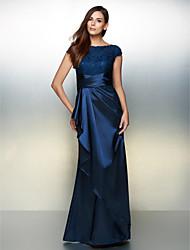 Formal Evening Dress - Dark Navy Sheath/Column Scoop Ankle-length Charmeuse