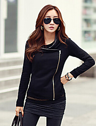 YUYI Women's Solid Color Black / Gray Coats & Jackets , Casual Stand Long Sleeve