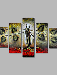Hand-Painted Oil Painting on Canvas Wall Art Landscape Trees Abstract Modern Home Deco Five Panel Ready to Hang