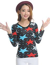 Women's Print Multi-color T-shirt , Loose Fit Round Neck Long Sleeve Floral Print Blouse