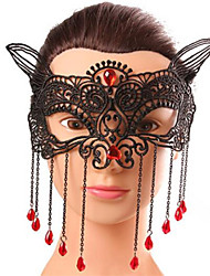 Halloween Fashion Sexy Tassels Fox Diamond Black Lace  Tassel Eye Wear