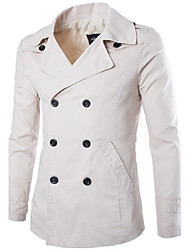 Men's Solid Casual Trench coat,Cotton Long Sleeve-Black / Beige
