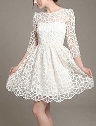 Women's Patchwork / Lace White Dress , Sexy / Casual / Print / Lace / Party Halter / Crew Neck Long Sleeve     LS