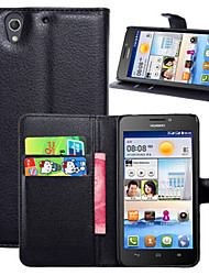 For Huawei Case Wallet / Card Holder / with Stand / Flip Case Full Body Case Solid Color Hard PU Leather for HuaweiHuawei Y635 / Huawei