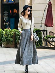 Tweed / Wol / Overige - Micro-elastisch - Casual / Grote maten - Midi - Vrouwen - Rokken