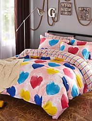 Pink Heart Cotton Bedding Set Of 4pcs Four Seasons Use