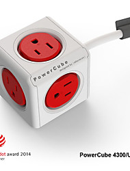 Besteye® Allocacoc PowerCube 4300/US Power outlet with 5 Outlets 1.5m 5ft Extension Cord Reddot Power Strip