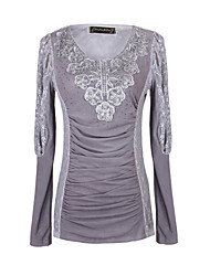 Women's Lace Pink / Gray Tops & Blouses , Casual Round Long Sleeve