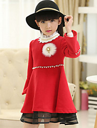Vestido Chica de - Invierno / Primavera / Otoño - Mezcla de Lana - Rojo