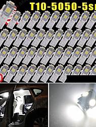 50 Stück reines Weiß t10 5-smd 5050 6000k Kennzeichen-LED-Licht W5W 168 194 2825