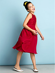 Lanting Bride® Knee-length Chiffon / Lace Junior Bridesmaid Dress - Mini Me A-line Jewel with Lace