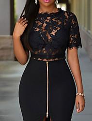 Women's Black Zipper Bodycon Skirt