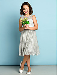 Lanting Bride Knee-length Lace Junior Bridesmaid Dress - Mini Me A-line Jewel with Lace