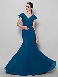 Sweep / Brush Train Chiffon Bridesmaid Dress Fit & Flare One Shoulder with