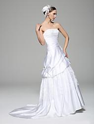 A-line Wedding Dress - White Court Train Strapless Lace / Satin