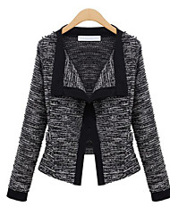 LYOU  Women's Patchwork White / Black Coats & Jackets , Vintage / Sexy / Party / Work Cape Long Sleeve