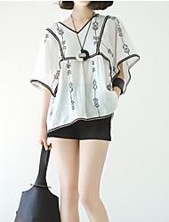 Women's Jacquard Black Blouse , V Neck Short Sleeve