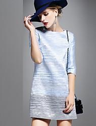 TS Women's Elegant Round Neck Slim  ¾ Sleeve Above Knee Pleated Dress