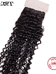 14 Natural Black Kinky Curly Human Hair Closure Medium Brown Swiss Lace 36g gram Cap Size
