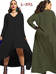 Women's Solid Color Blue / Red / White / Black / Green Plus size Dresses , Casual V-Neck Long Sleeve